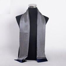 Men Winter Muffler Pure Silk Fashion Plaid Cravat Navy Blue Scarves 160X26cm
