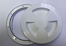 White plastic round waterproof access / inspection hatch - boat / caravan / RV