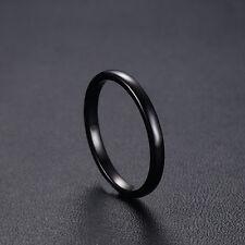 Schmaler Damen Ring Wolfram Carbid Tungsten 51 - 64 schwarz poliert