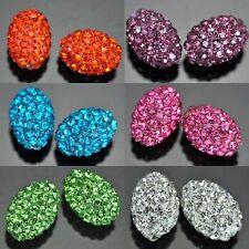 10mm Rhinestone Crystal Clay Pave Oval Barrel Beads for Shamballa Bracelet