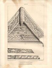 1831 PUGIN'S ORNAMENTAL GABLES PRINT ~ FORD'S HOSPITAL COVENTRY DORMER WINDOW