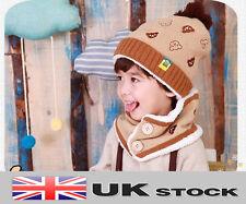 New Winter Children Baby Bear Hat Cap And Scarf Bib Set UK SELLER