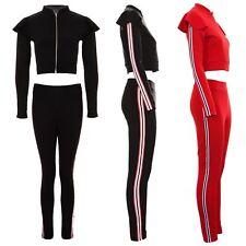 Womens Frill Ruffle Shoulder Crop Zipper Stripe 2 Piece Set Loungewear Tracksuit