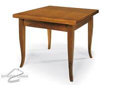 Tavolo quadrato in legno con piede a sciabola