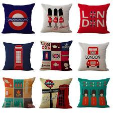 "18"" British Style Linen Sofa Pillowcase London Sofa Car Cushion Cover Home Decor"