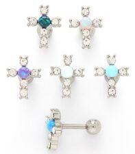 New Surgical Steel Opal Gem Cross Crucifix Cartilage Tragus Earring Stud