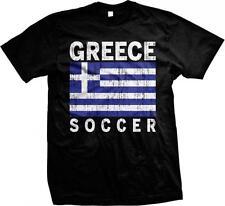 Greece Flag Soccer Hellenic Republic Hellas Ellada Greek Pride Mens T-shirt