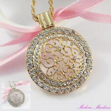 Rhinestone Filigree Scroll Medallion Pendant Necklace Select Gold or Silver 46cm