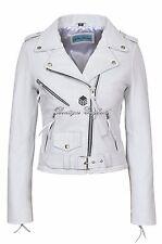 Cynthia Femmes Blanc Motard Brando Slim Rock en Cuir Véritable Veste Moto