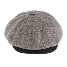 Mens Tweed Newsboy Cap Peaky Blinders Baker Boy Flat Hat Wool Blended
