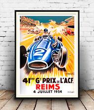 Reims motor racing, vintage sport automobile affiche publicitaire reproduction.