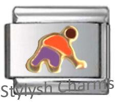 ICE HOCKEY PLAYER PUFFY Enamel Italian Charm 9mm Link-1x SP032 Sgl Bracelet Link