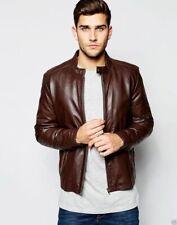 New Men Biker Motorcycle Brown Genuine Lambskin Leather Jacket Size XS S M L XL
