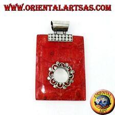 Colgante de plata 925 ‰ con ramificación coral rojo (coral) rectangular orificio