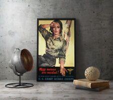 WWII US Army Nurse Poster - WW2 American Propaganda Vintage Reproduction Art