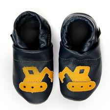 Pantau Leder Krabbelschuhe, Lauflernschuhe, Lederpuschen Blau mit gelbem Bagger