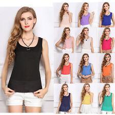 Ladies Casual Sleeveless Chiffon Vest Womens T Shirt Blouse Plain UK 8-12 1003
