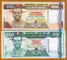Swaziland, SET, 100;200 Emalangeni 2008 P-New UNC