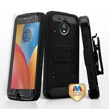Black Armor Stand Combo Holster Case + Tempered Glass For Motorola Moto E4 Plus