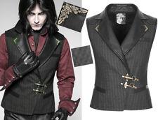 Gilet veste steampunk gothique dandy carreaux fermoir bronze PunkRave Homme Noir