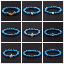 Blue Turquoise Buddha Cross Owl Skull Beaded Elastic Bracelet Yoga For Men Women