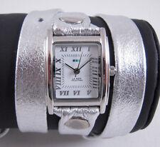 LA MER Watch Simple Metallic Silver Wrap Silver Square White Dial