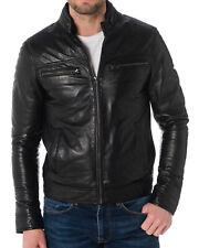 Men's Stylish Motorcycle Biker Genuine Lambskin Nappa Leather Jacket Mj 63