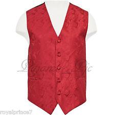 Red Paisley Tuxedo Suit Dress Vest Waistcoat Formal Prom Wedding Prom XS - 6X