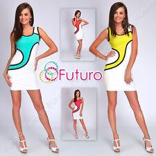 Partido Dos Colores Mini Vestido sin mangas túnica Clubwear Bodycon TAMAÑOS 8-14 fc1483