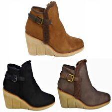 Womens Ladies Mid Low Wedge Heel Fur Buckle Collar Zip Ankle Shoes Boots Booties