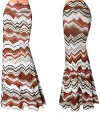 Gonna Lunga Donna Maxi Fantasia Marrone Woman Maxi Brown 70's Skirt 130059 P