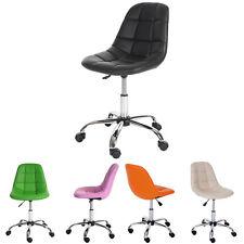 Sedia sgabello ufficio con ruote HWC-A86 54x62x80-92 acciaio cromato ecopelle
