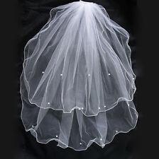 2 Tier Pearl Bridal Wedding Waist Length Veil White Ivory