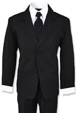 Formal Boy Kids Dress Suit Set Tuxedo Black All Sizes
