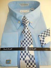 Mens Light Blue Collar Bar French Cuff Dress Shirt Jacquard Tie & Hanky Set 4362