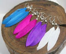Feather w/pearl earrings, white,blue,purple,pink, handmade