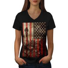 New York Flag Liberty USA Women V-Neck T-shirt NEW   Wellcoda