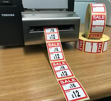Rojo - Sale Fue / ahora Precio Pegatinas / Etiquetas para Usar con Térmico