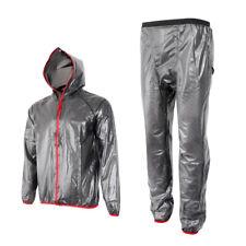 Mens Motorcycle Cycling Full Rain Suit Waterproof Hooded Top Rain Coat Pant