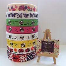 PER Metre BEE BUTTERFLY LADYBIRD  Printed Grosgrain ribbon 22/25mm Hairbow Craft