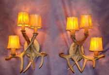 REAL ANTLER WALL SCONCE 3 LIGHT, CHANDELIER, DEER LAMPS