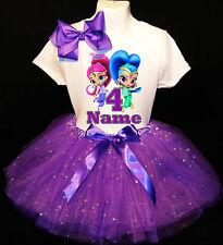Shimmer & Shine 4th fourth 4 Birthday ***With NAME*** Purple Tutu Dress