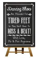 Chalkboard Dancing Shoes Flip Flops Sandals Vintage Personalised Wedding Sign