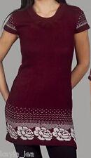 Burgundy Floral Cap Sleeve Cardigan/Sweater Tunic/Mini