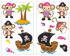 13-teiliges Piraten Affen Pink Wandtattoo Set Kinderzimmer Babyzimmer 3 Größen