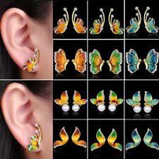 Vintage Women Wedding Butterfly Crystal Pearl Ear Stud Earrings Jewelry Gift Hot