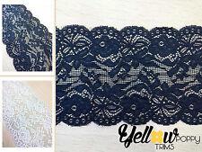 "Black White 6""/15cm Wide Stretch Floral Scallop Lace Edge Trim Art Craft Fabric"