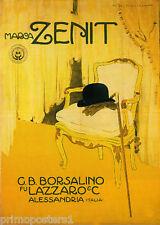 ITALY ZENIT BORSALINO HAT GLOVES CANE MEN'S FASHION ITALIAN VINTAGE POSTER REPRO