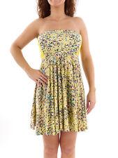 Hurley Kleid Sommerkleid Bandeaukleid gelb Gemma dehnbar Gummizug