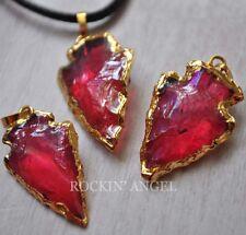Natural Rose Aura Quartz Arrow Head Pendant Cord Necklace or Choker Ladies Gift